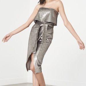 NWT Lavish Alice Reverse Sequin Bandeau Midi Dress
